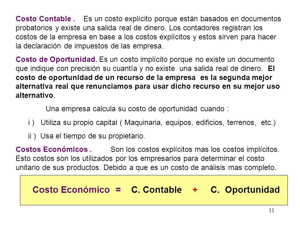 Costo Económico = C. Contable + C. Oportunidad