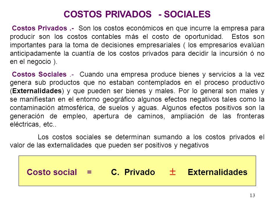 COSTOS PRIVADOS - SOCIALES
