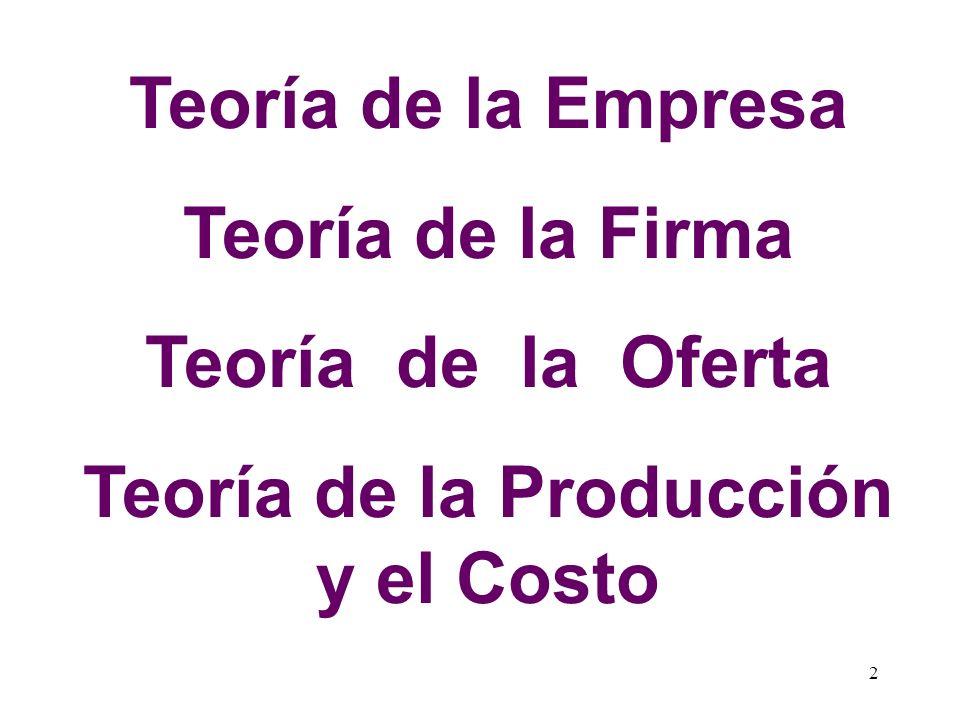 Teoría de la Producción y el Costo