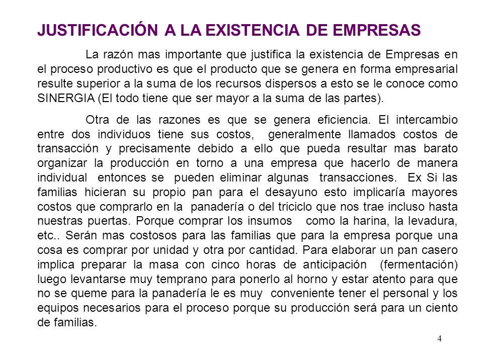 JUSTIFICACIÓN A LA EXISTENCIA DE EMPRESAS