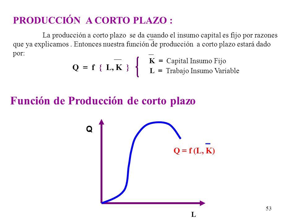Función de Producción de corto plazo