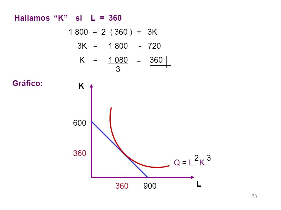 Hallamos K si L = 360 1 800 = 2 ( 360 ) + 3K. 3K = 1 800 - 720. K = 1 080 360 3.