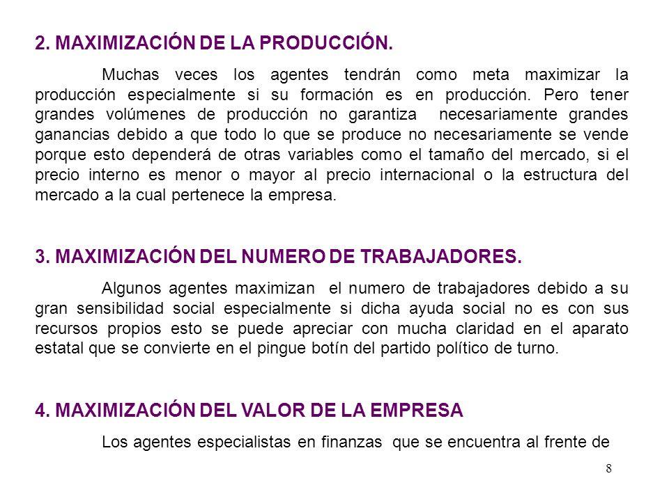 2. MAXIMIZACIÓN DE LA PRODUCCIÓN.