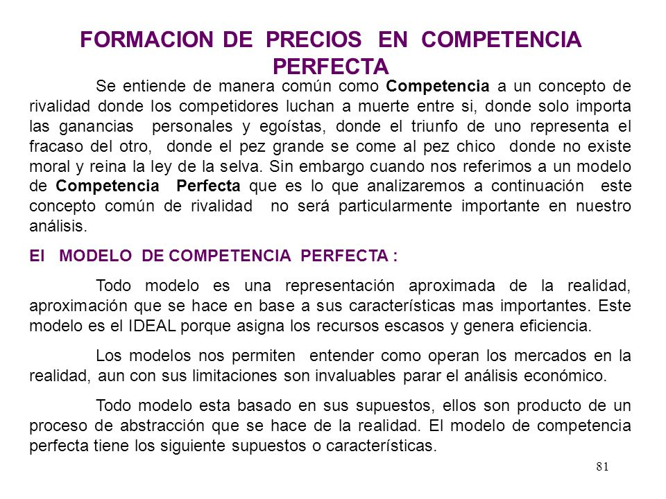 FORMACION DE PRECIOS EN COMPETENCIA PERFECTA