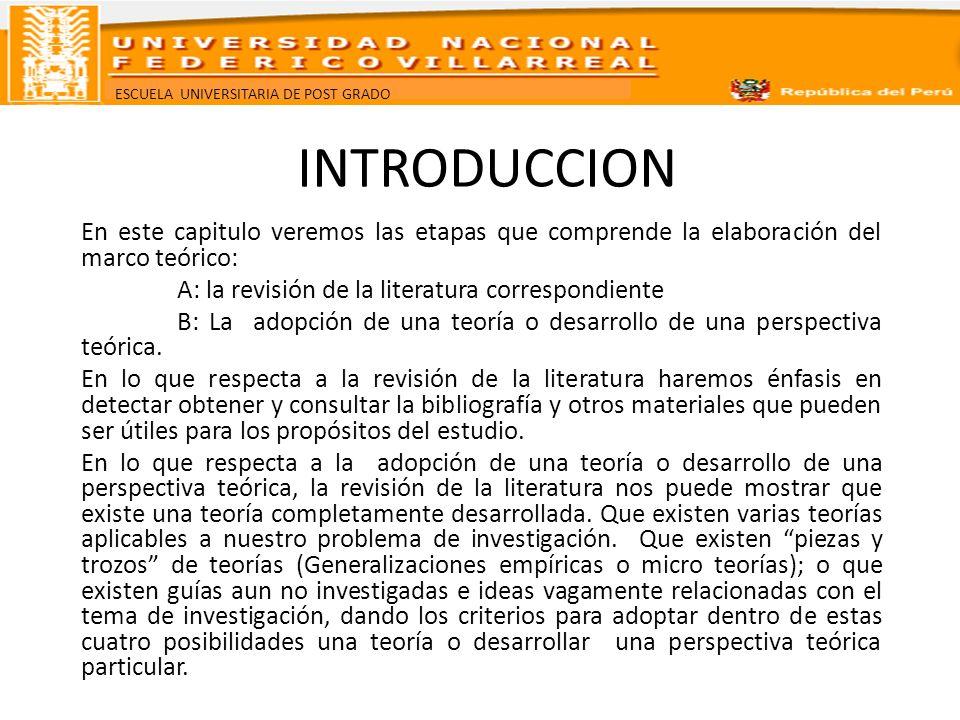 INTRODUCCION En este capitulo veremos las etapas que comprende la elaboración del marco teórico: A: la revisión de la literatura correspondiente.