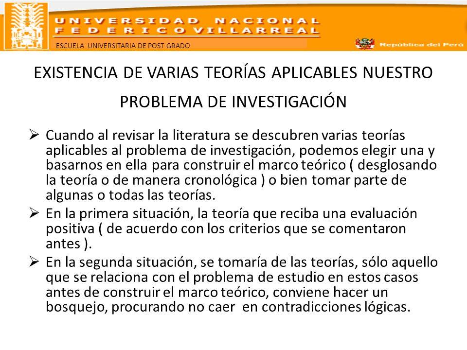 EXISTENCIA DE VARIAS TEORÍAS APLICABLES NUESTRO PROBLEMA DE INVESTIGACIÓN