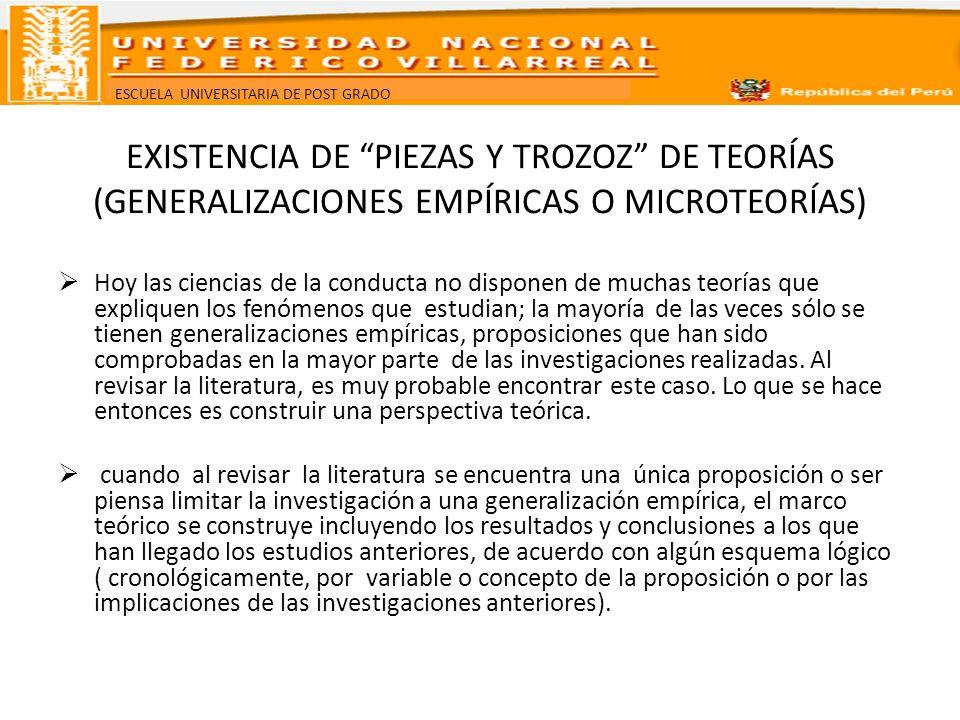 EXISTENCIA DE PIEZAS Y TROZOZ DE TEORÍAS (GENERALIZACIONES EMPÍRICAS O MICROTEORÍAS)