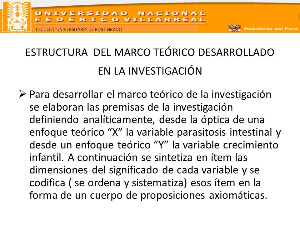 ESTRUCTURA DEL MARCO TEÓRICO DESARROLLADO EN LA INVESTIGACIÓN