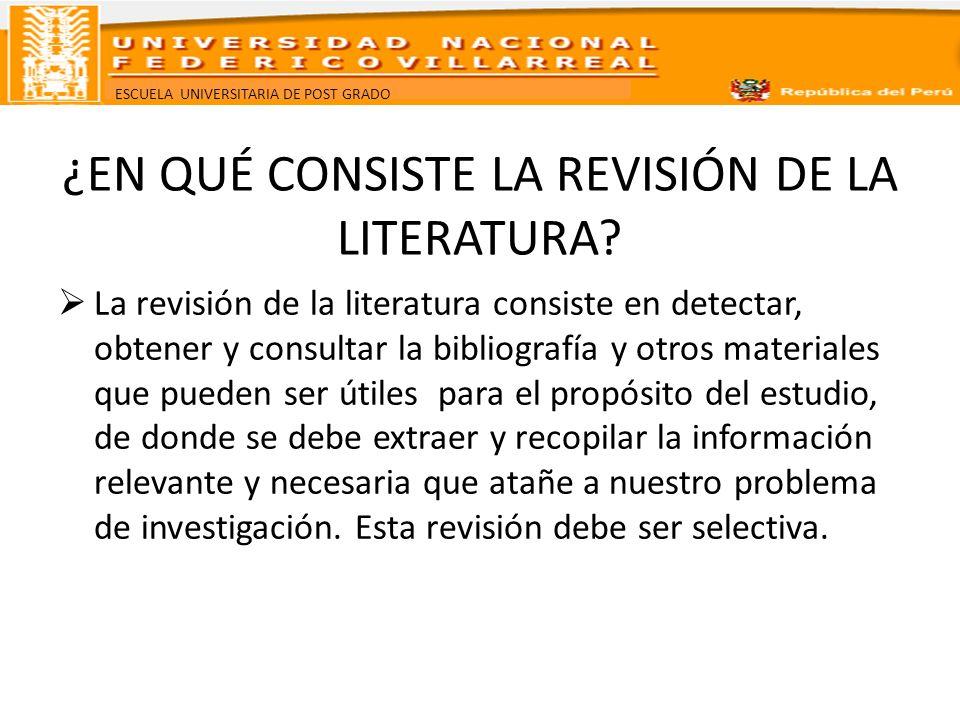 ¿EN QUÉ CONSISTE LA REVISIÓN DE LA LITERATURA