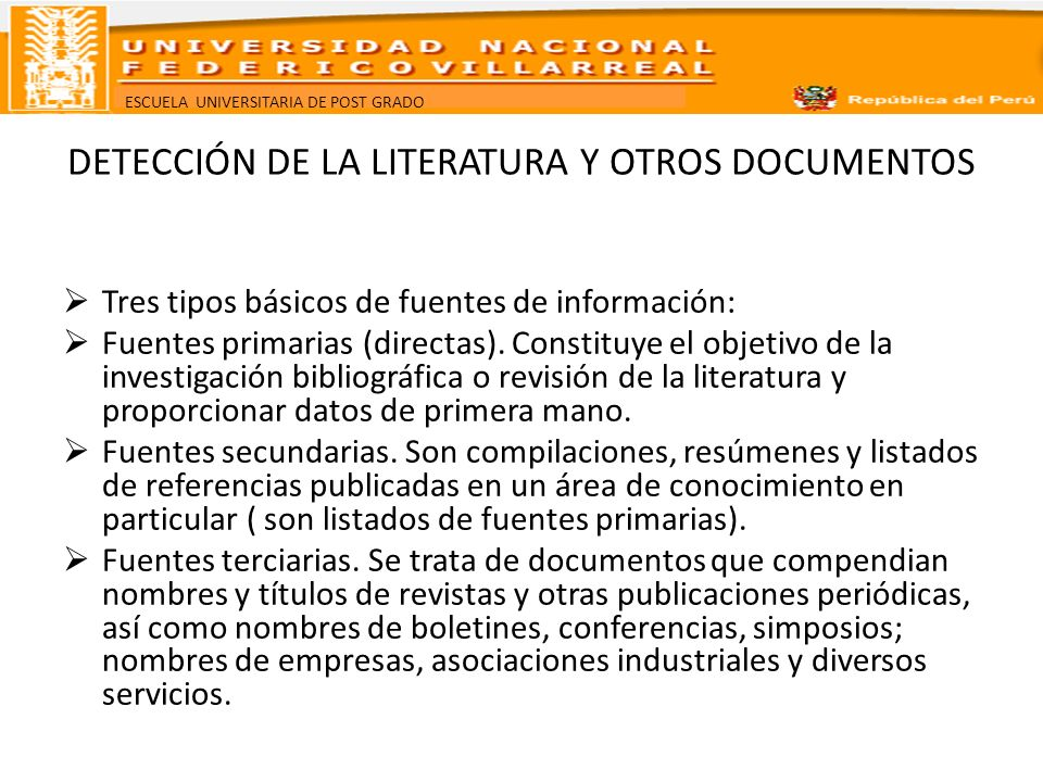 DETECCIÓN DE LA LITERATURA Y OTROS DOCUMENTOS