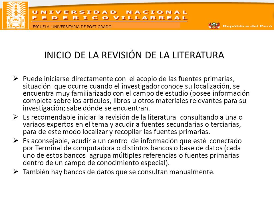 INICIO DE LA REVISIÓN DE LA LITERATURA
