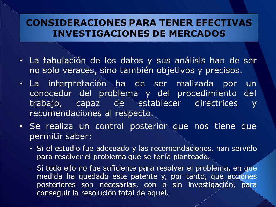 CONSIDERACIONES PARA TENER EFECTIVAS INVESTIGACIONES DE MERCADOS