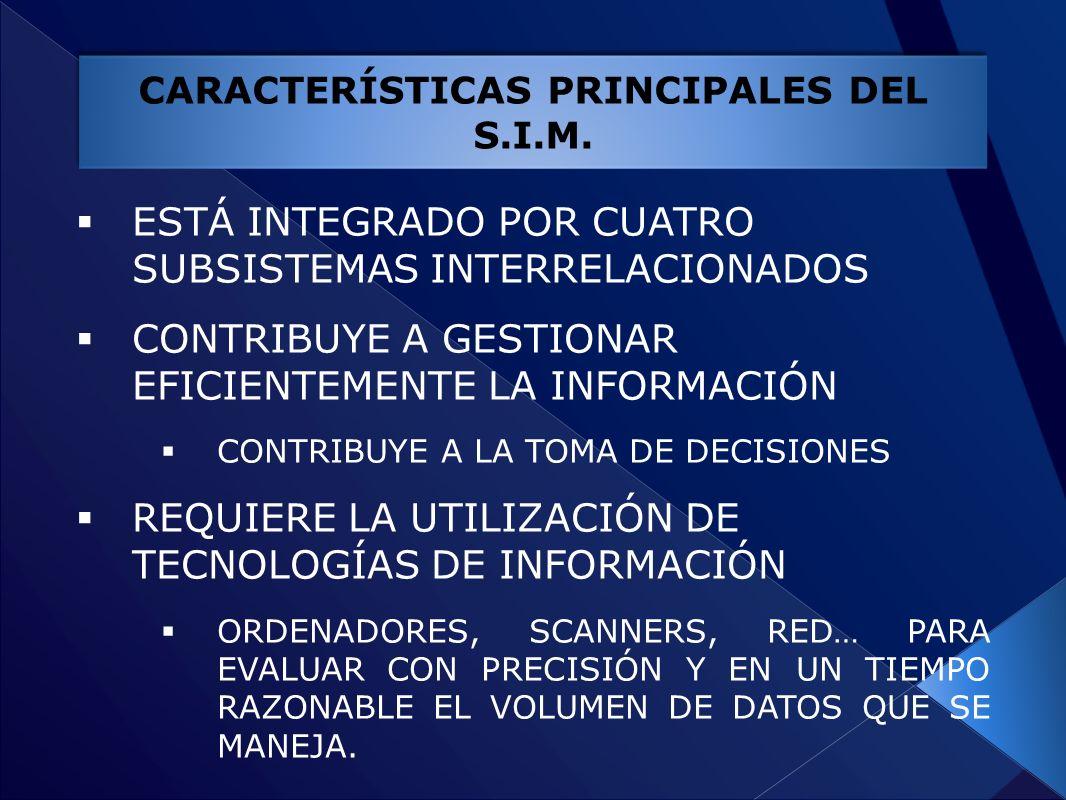 CARACTERÍSTICAS PRINCIPALES DEL S.I.M.