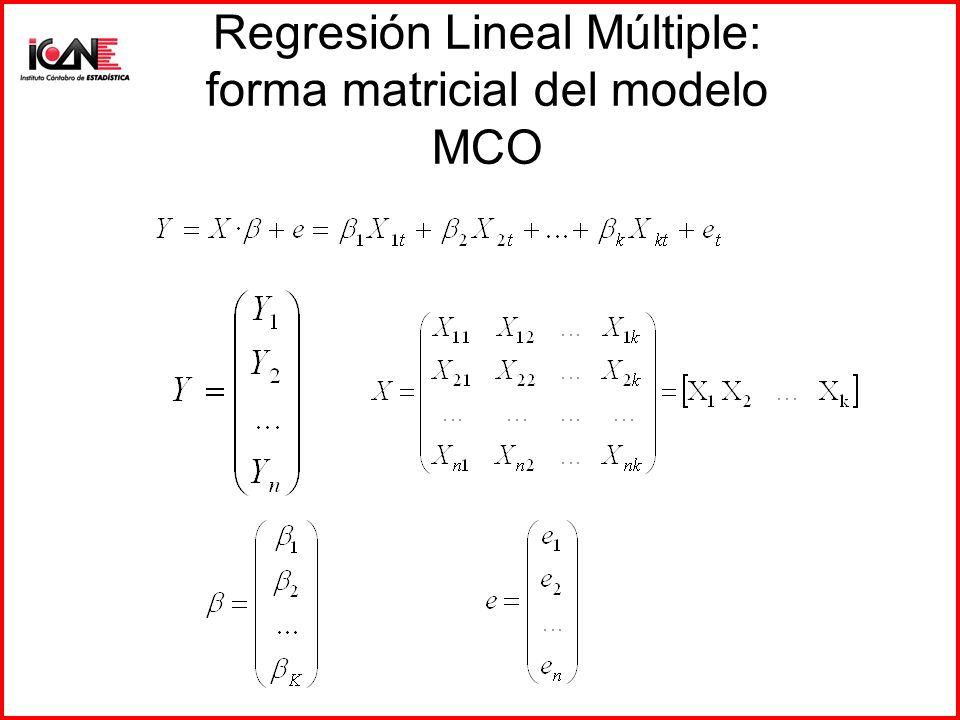 Regresión Lineal Múltiple: forma matricial del modelo MCO