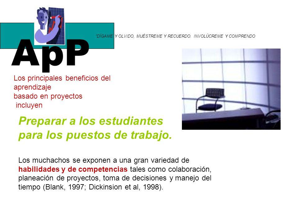 ApP Preparar a los estudiantes para los puestos de trabajo.