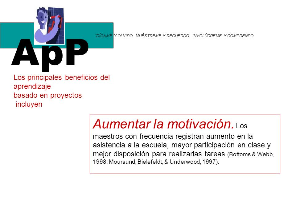 ApP DÍGAME Y OLVIDO, MUÉSTREME Y RECUERDO. INVOLÚCREME Y COMPRENDO. Los principales beneficios del.