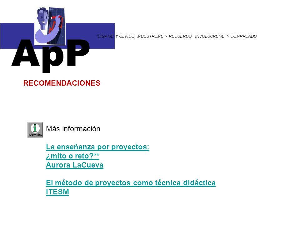 ApP RECOMENDACIONES Más información La enseñanza por proyectos:
