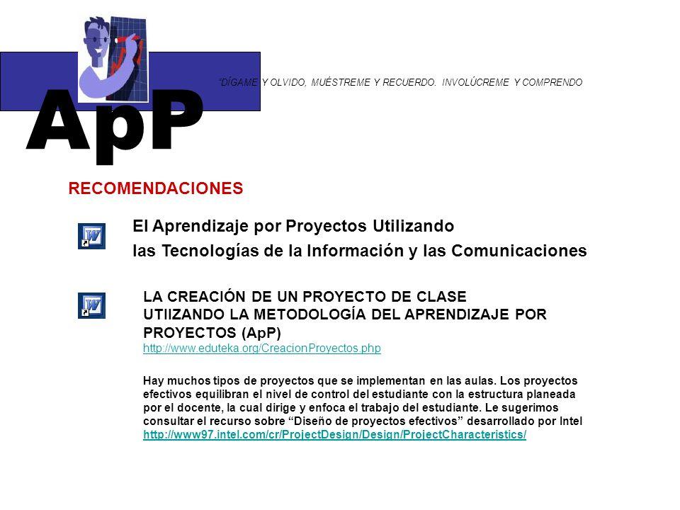 ApP RECOMENDACIONES El Aprendizaje por Proyectos Utilizando
