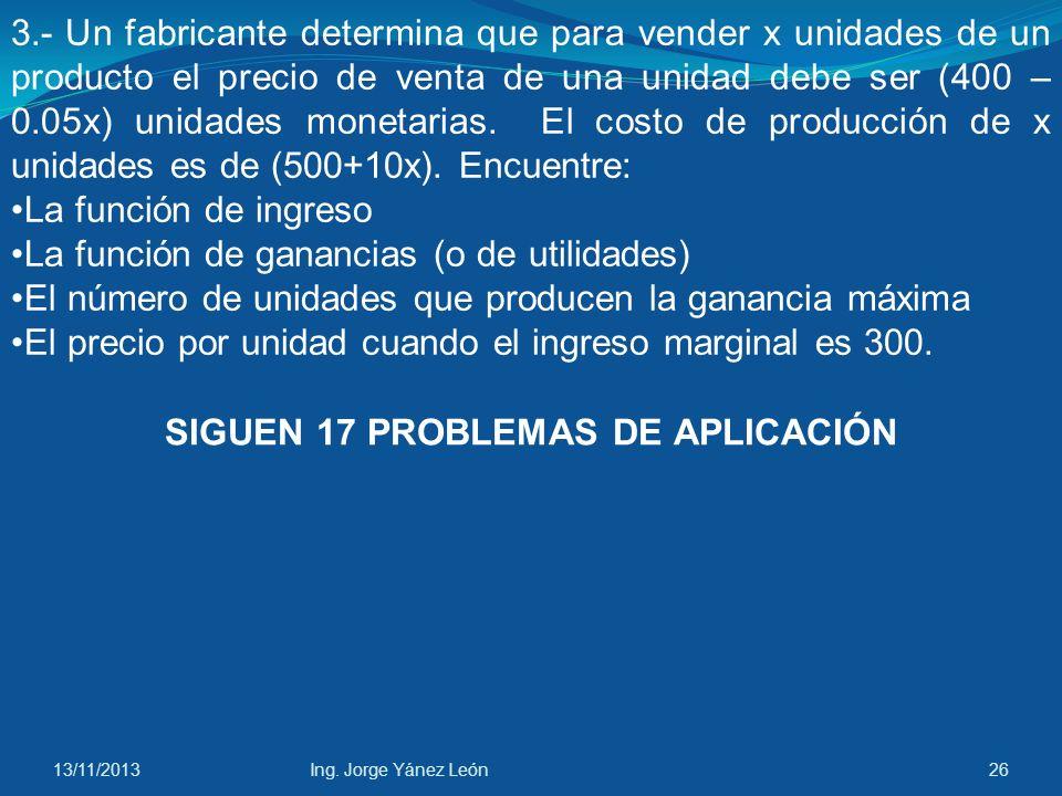 SIGUEN 17 PROBLEMAS DE APLICACIÓN