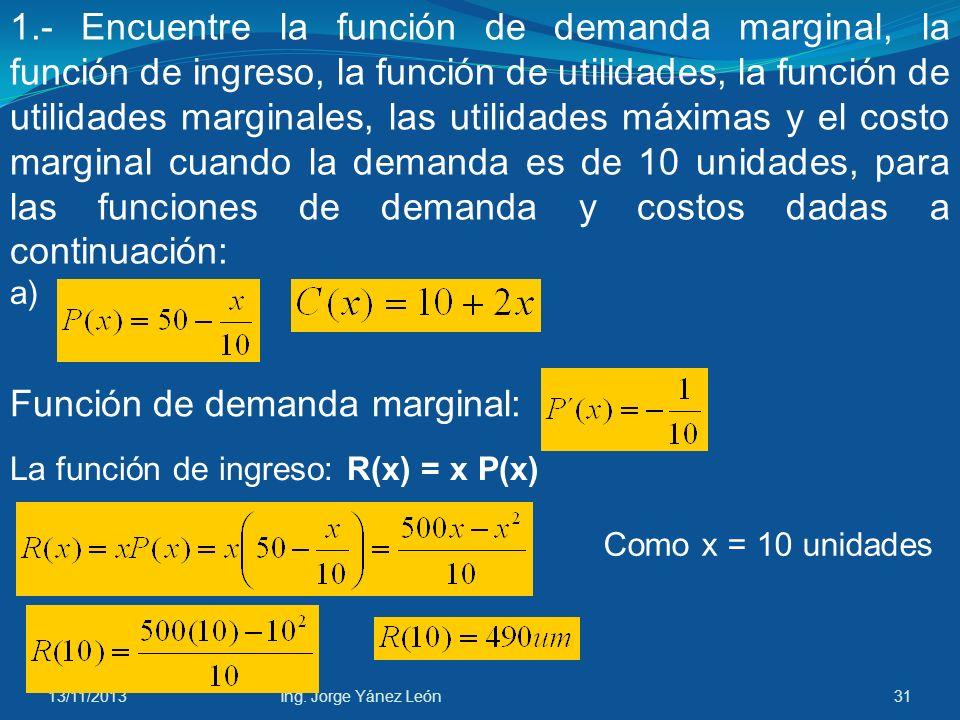 Función de demanda marginal: