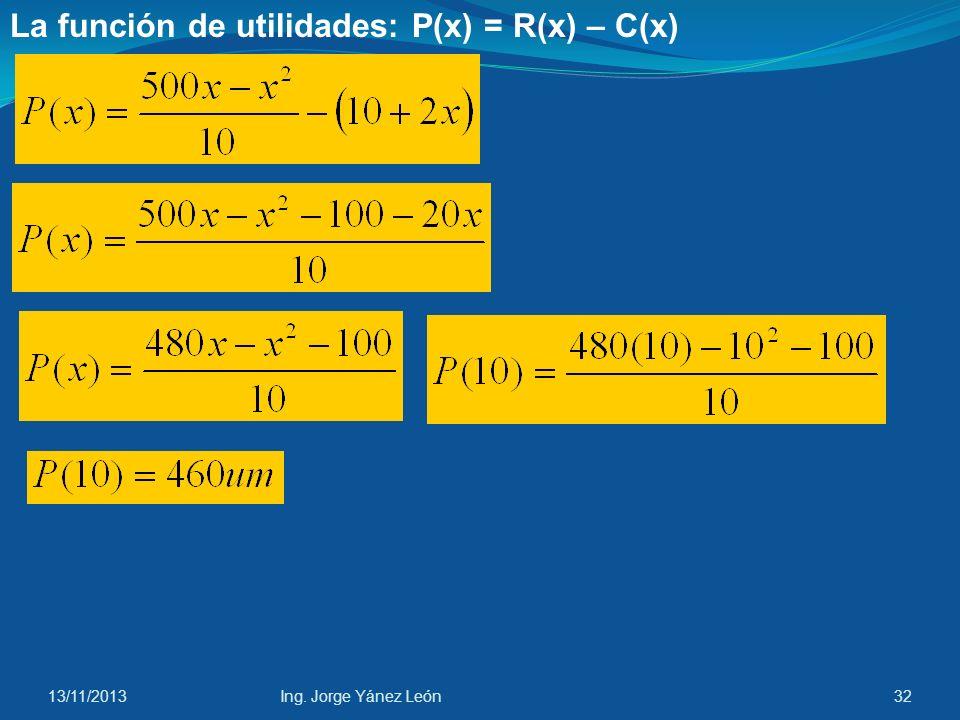 La función de utilidades: P(x) = R(x) – C(x)