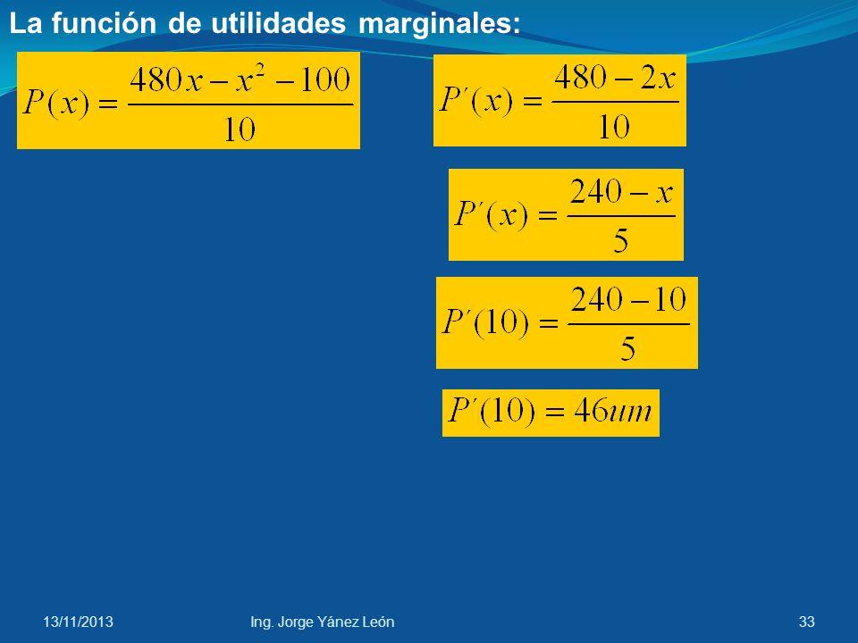 La función de utilidades marginales: