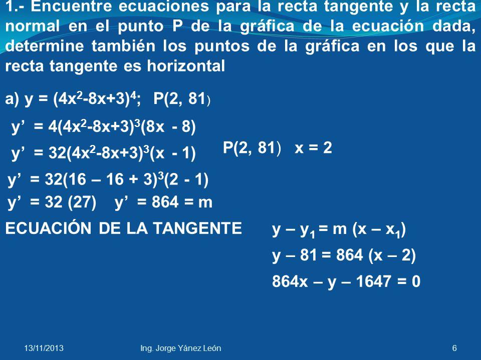 ECUACIÓN DE LA TANGENTE y – y1 = m (x – x1)