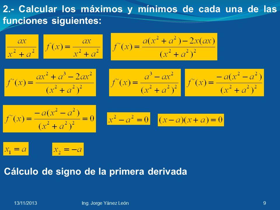 Cálculo de signo de la primera derivada