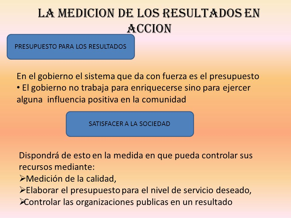 LA MEDICION DE LOS RESULTADOS EN ACCION