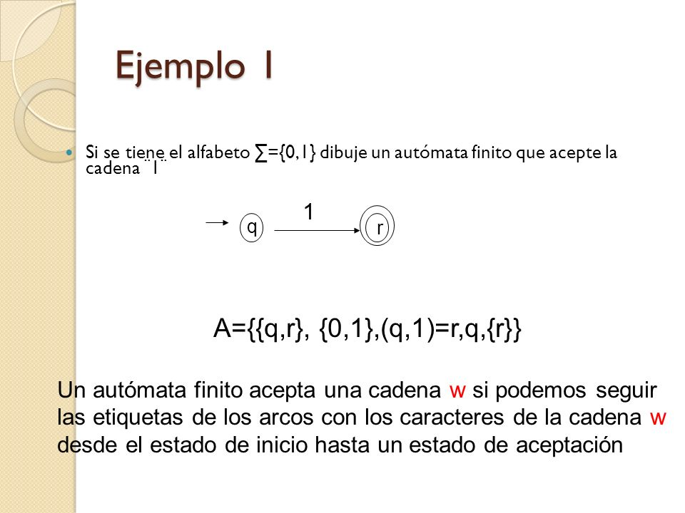 Ejemplo 1 A={{q,r}, {0,1},(q,1)=r,q,{r}} 1