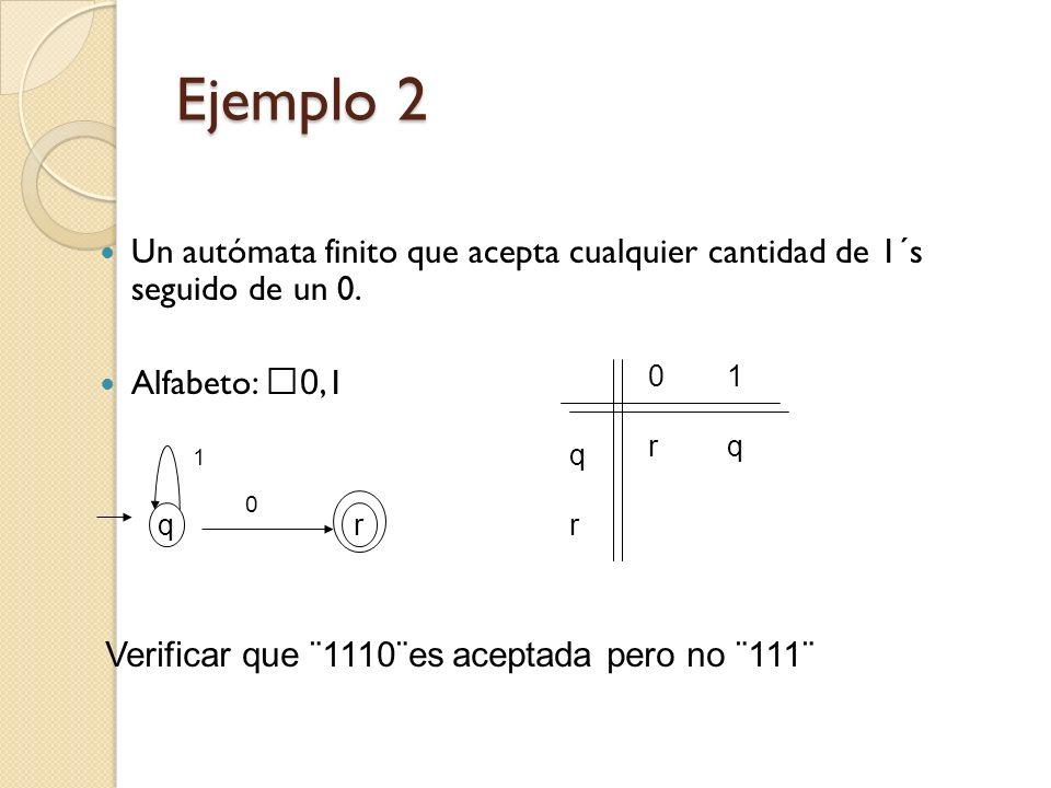 Ejemplo 2 Un autómata finito que acepta cualquier cantidad de 1´s seguido de un 0. Alfabeto: 0,1.