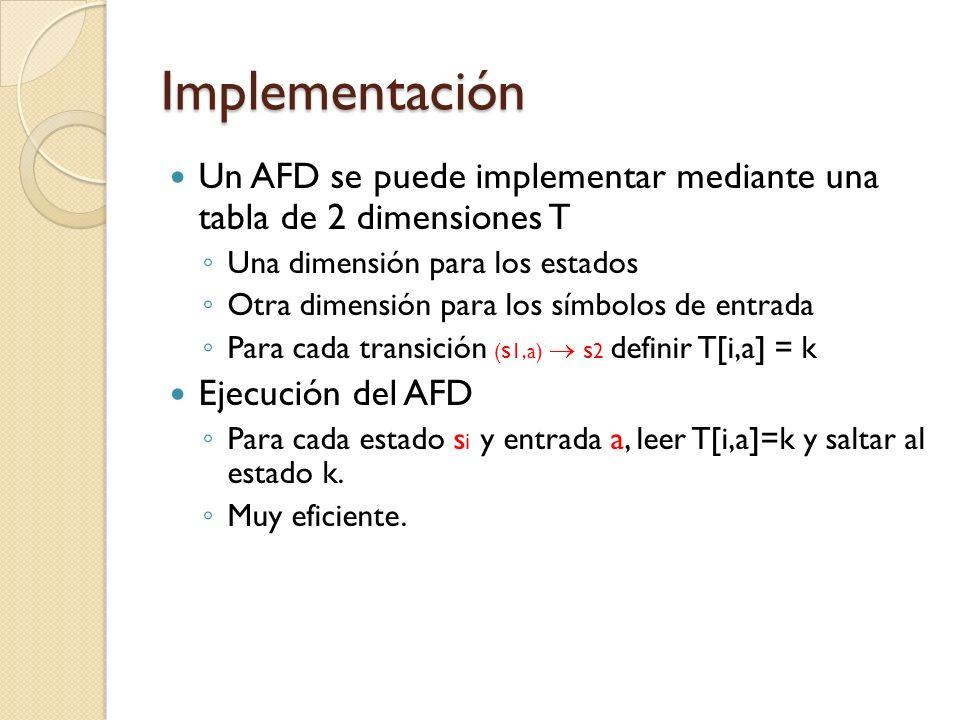 Implementación Un AFD se puede implementar mediante una tabla de 2 dimensiones T. Una dimensión para los estados.