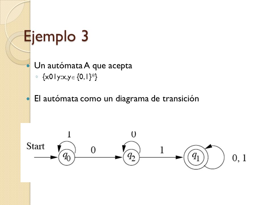 Ejemplo 3 Un autómata A que acepta