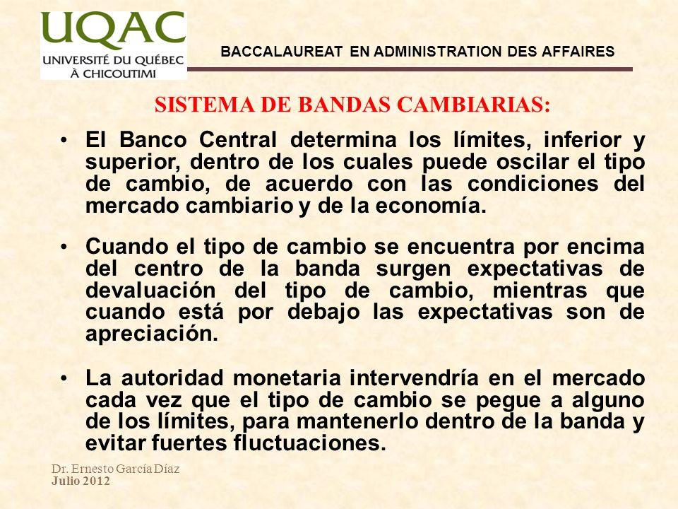 SISTEMA DE BANDAS CAMBIARIAS: