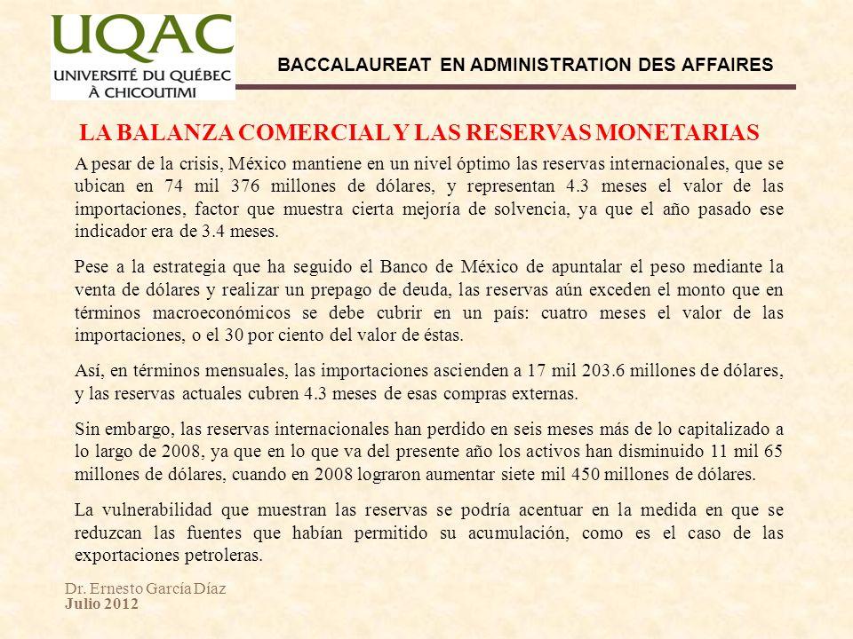 LA BALANZA COMERCIAL Y LAS RESERVAS MONETARIAS
