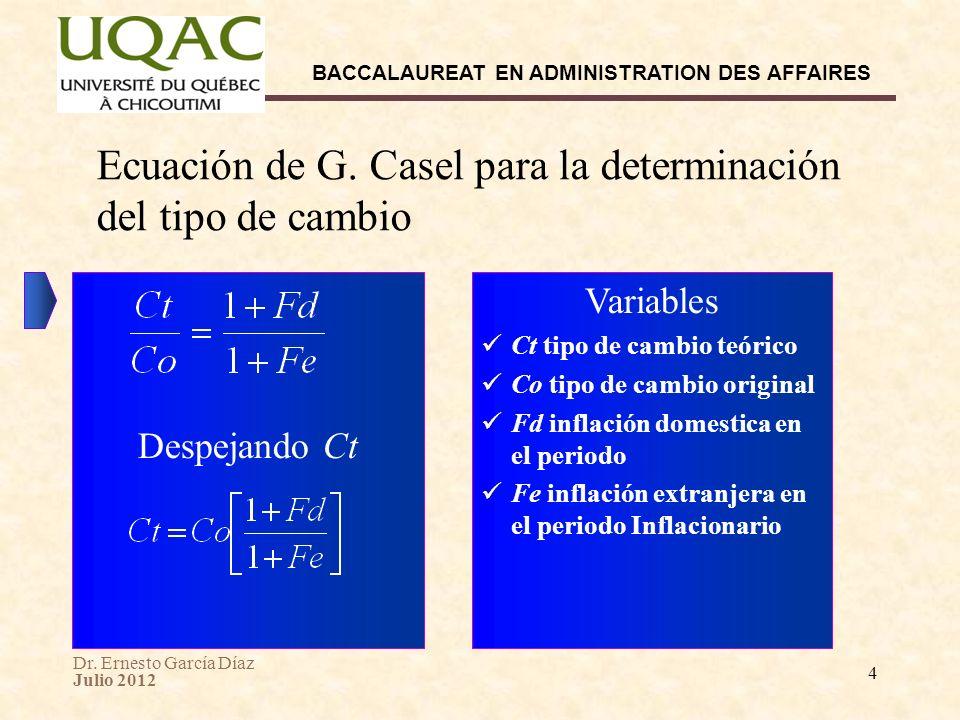 Ecuación de G. Casel para la determinación del tipo de cambio