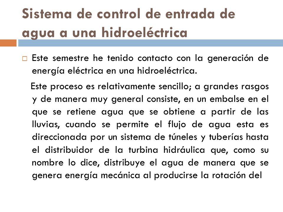 Sistema de control de entrada de agua a una hidroeléctrica
