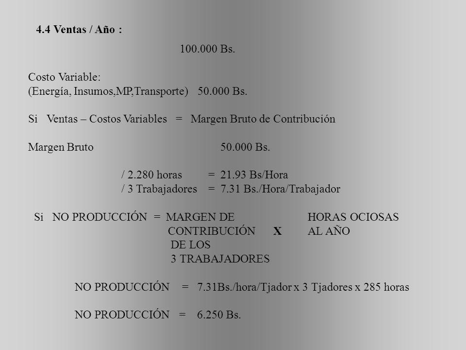 4.4 Ventas / Año : 100.000 Bs. Costo Variable: (Energía, Insumos,MP,Transporte) 50.000 Bs.