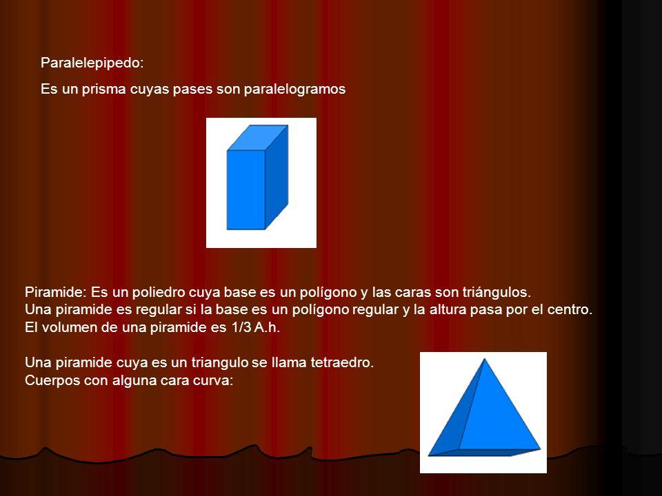 Paralelepipedo: Es un prisma cuyas pases son paralelogramos. Piramide: Es un poliedro cuya base es un polígono y las caras son triángulos.