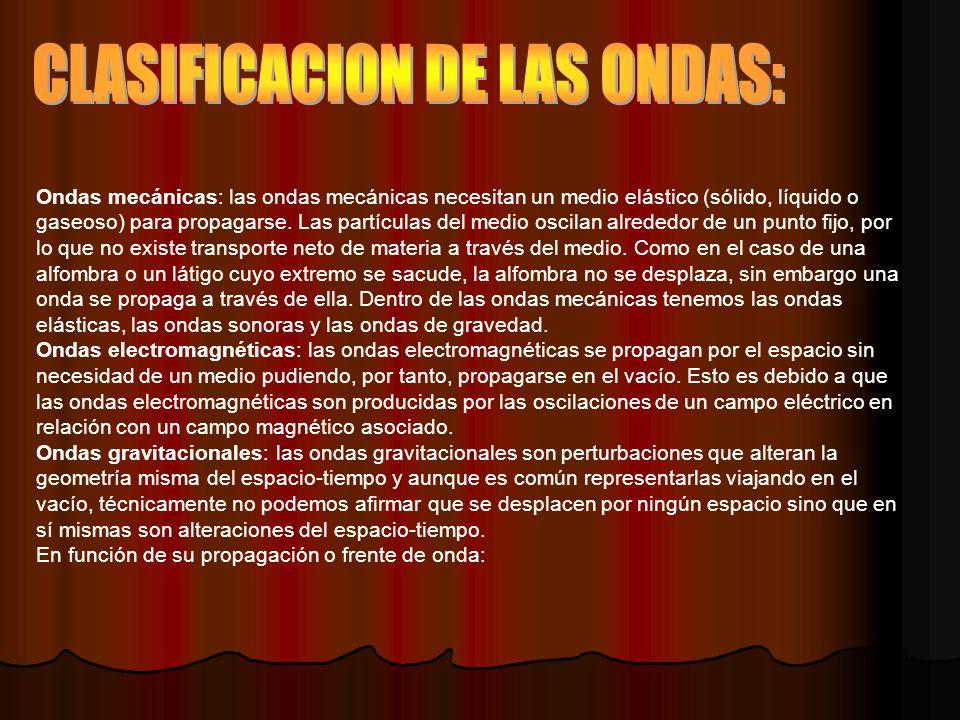 CLASIFICACION DE LAS ONDAS: