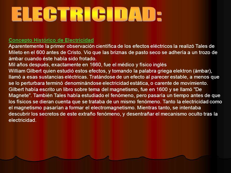ELECTRICIDAD: Concepto Histórico de Electricidad