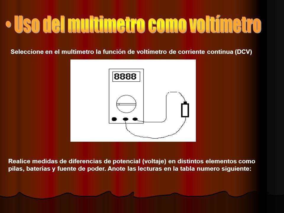 • Uso del multimetro como voltímetro