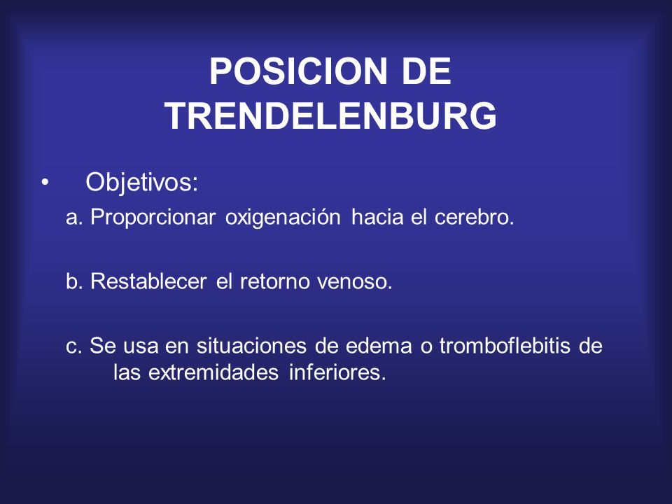 POSICION DE TRENDELENBURG