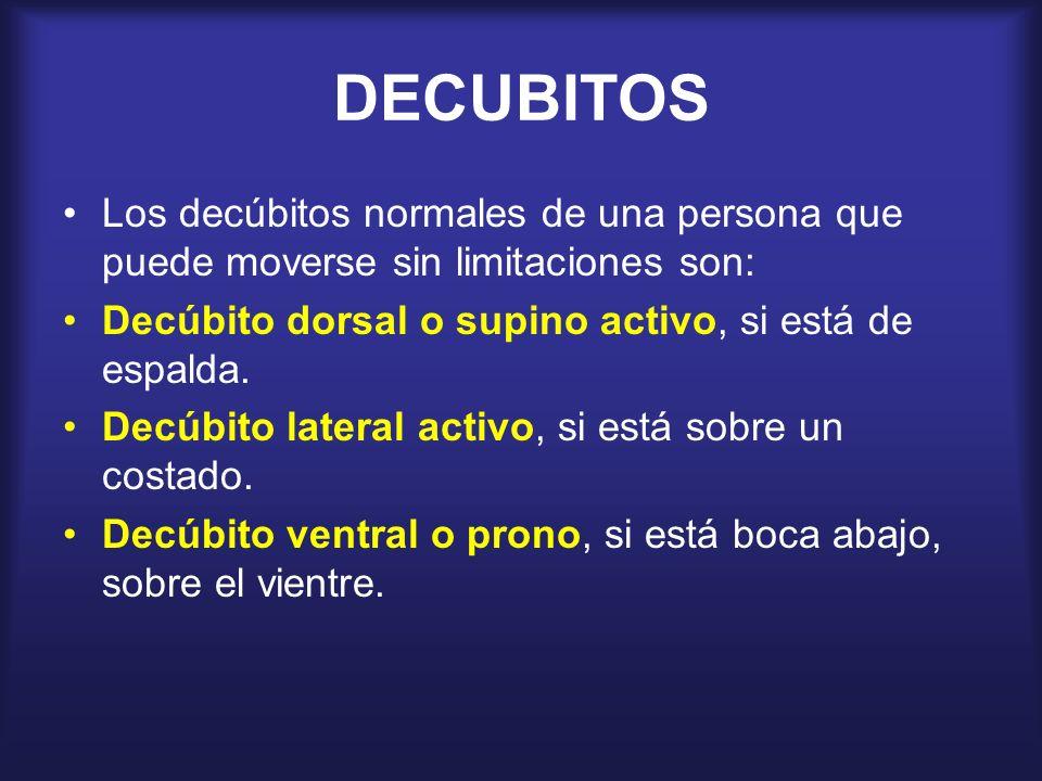DECUBITOSLos decúbitos normales de una persona que puede moverse sin limitaciones son: Decúbito dorsal o supino activo, si está de espalda.