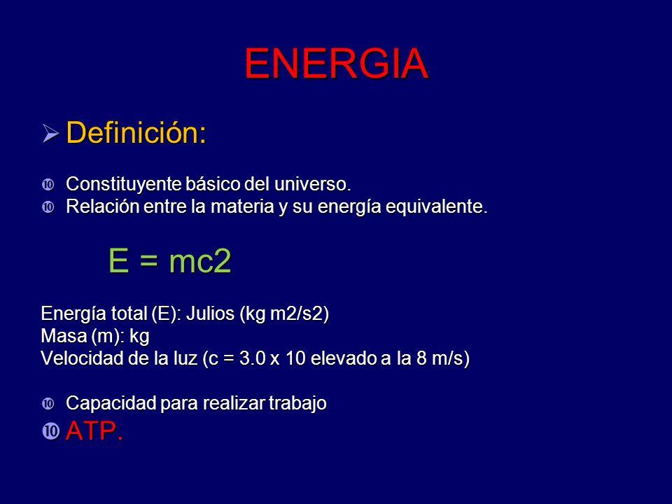 ENERGIA Definición: ATP. Constituyente básico del universo.