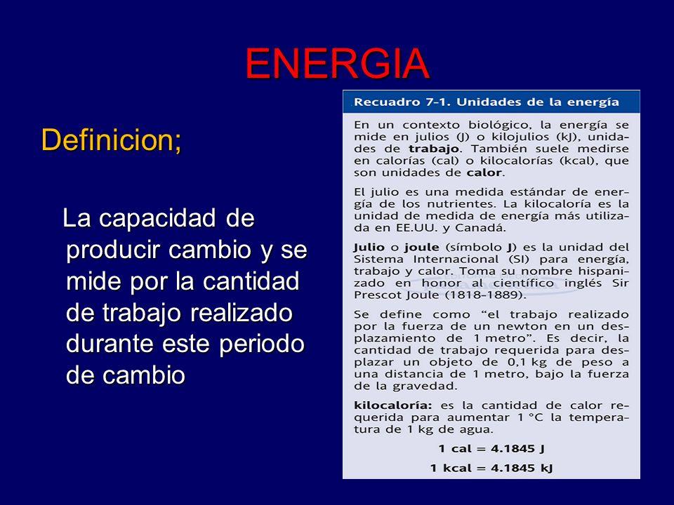 ENERGIADefinicion; La capacidad de producir cambio y se mide por la cantidad de trabajo realizado durante este periodo de cambio.