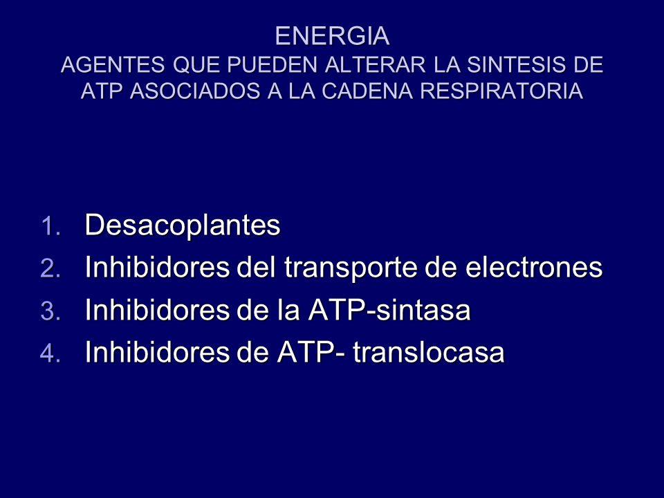 Inhibidores del transporte de electrones Inhibidores de la ATP-sintasa