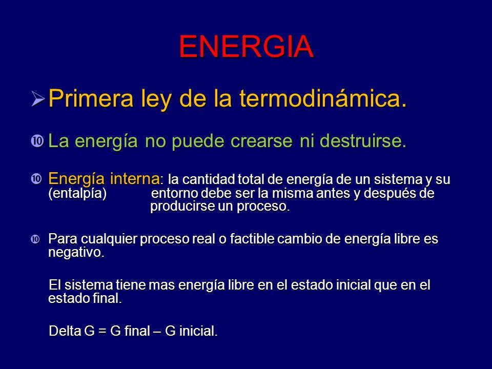 ENERGIA Primera ley de la termodinámica.