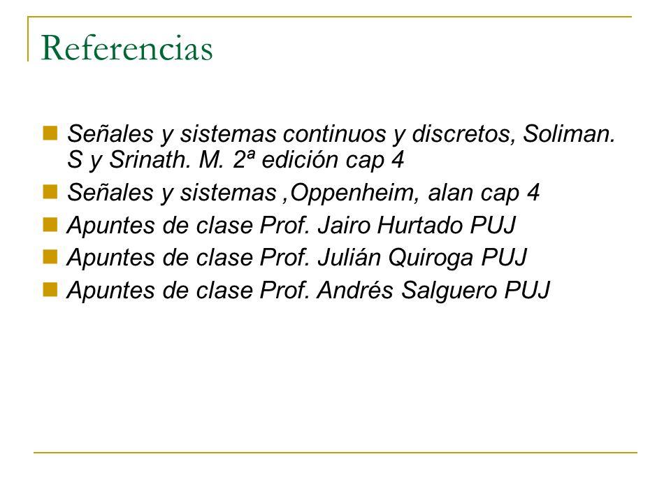 Referencias Señales y sistemas continuos y discretos, Soliman. S y Srinath. M. 2ª edición cap 4. Señales y sistemas ,Oppenheim, alan cap 4.