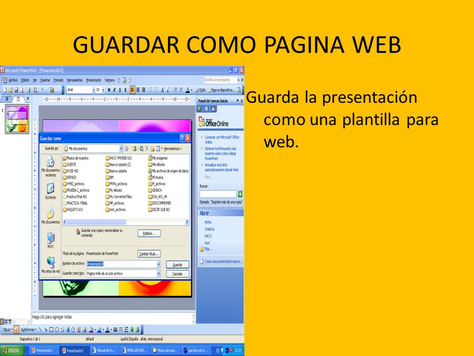 GUARDAR COMO PAGINA WEB